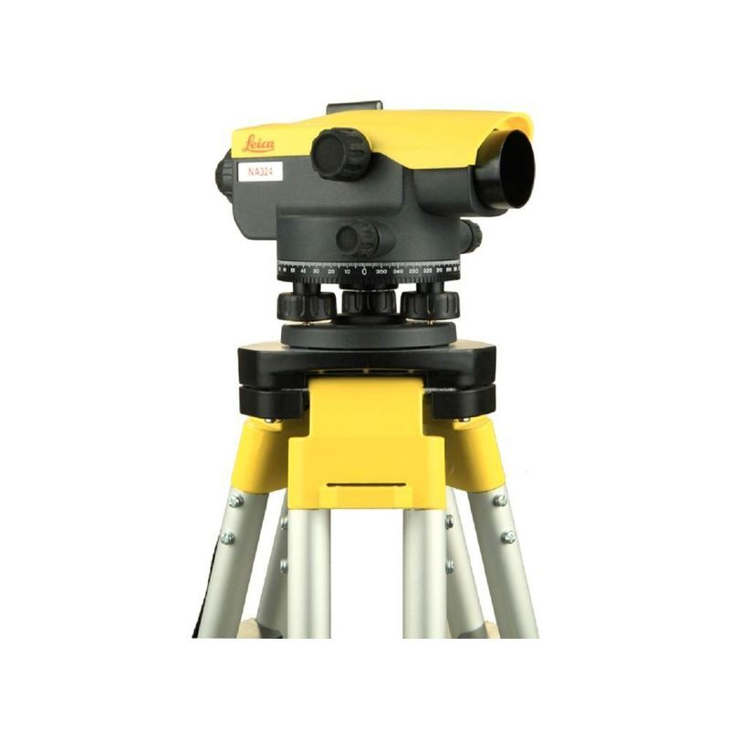 Level dumpy with tripod and staff